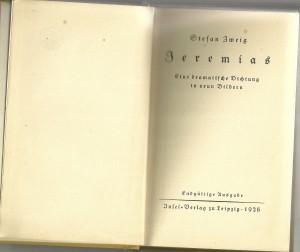 Stefan Zweig  Jeremias  Inselverlag  1928  Druk 26 tot 28 duizend